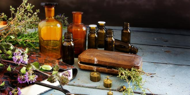 Bitter herbs, scissors and apothecary bottles
